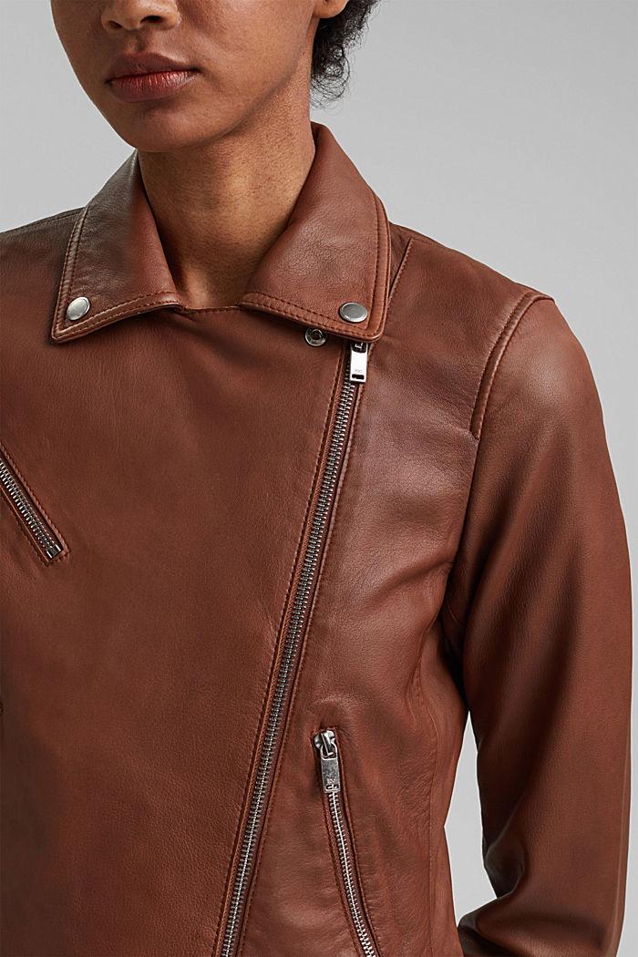 Veste style motard, 100% cuir, CARAMEL, detail image number 2
