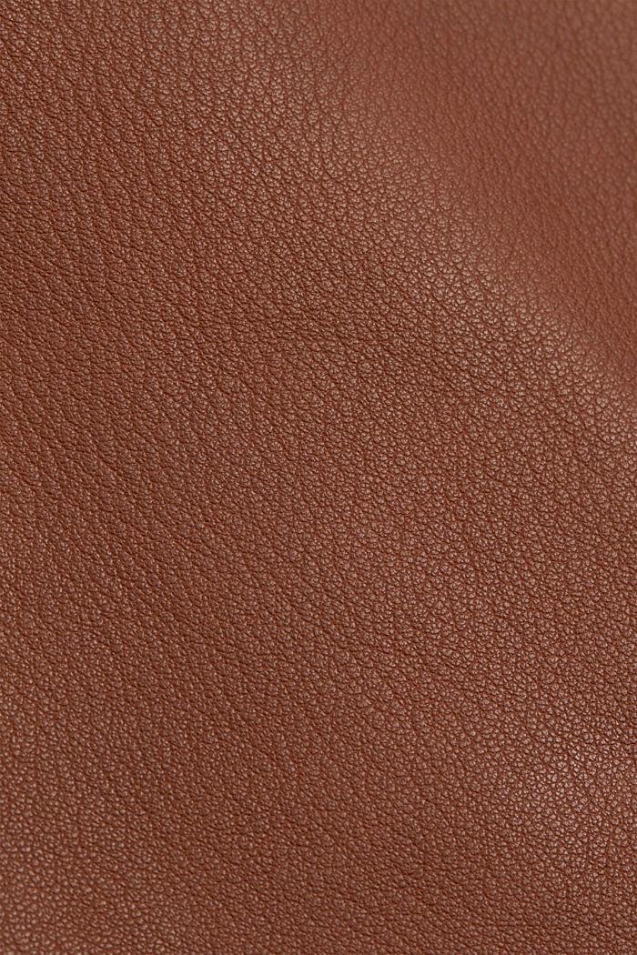 Veste style motard, 100% cuir, CARAMEL, detail image number 4