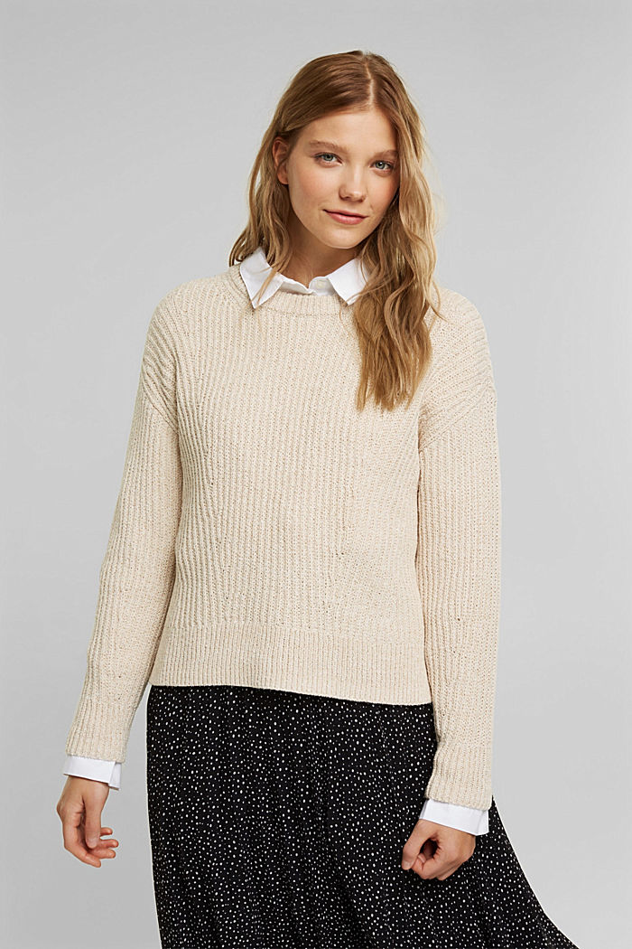 Ribbed jumper containing organic cotton, BEIGE, detail image number 0