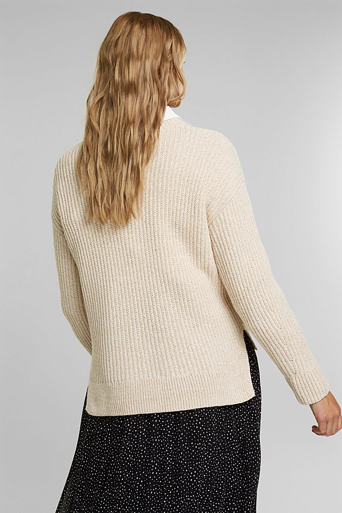 Ribbed jumper containing organic cotton, BEIGE, detail image number 3