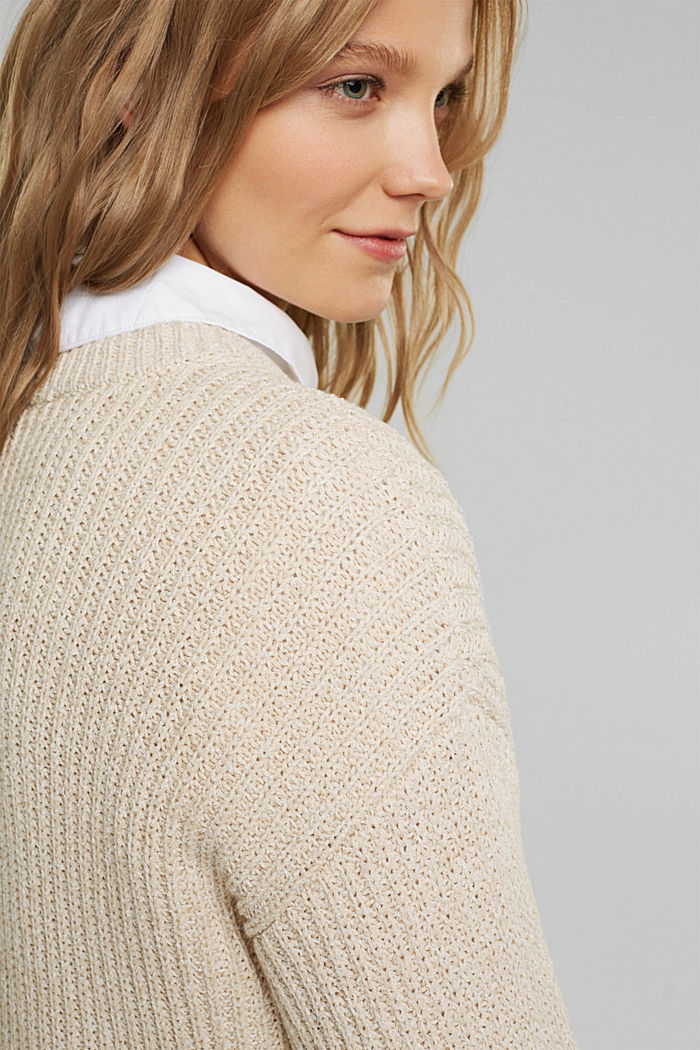 Ribbed jumper containing organic cotton, BEIGE, detail image number 5