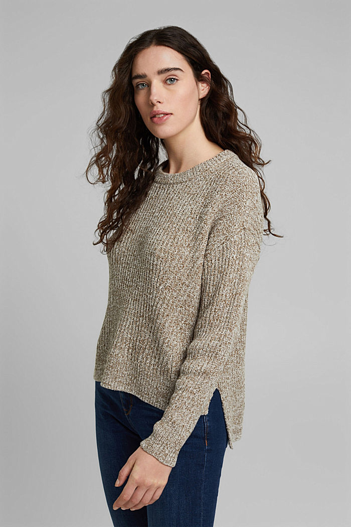Ribbed jumper containing organic cotton, LIGHT KHAKI, detail image number 0