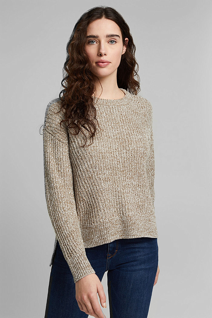 Ribbed jumper containing organic cotton, LIGHT KHAKI, detail image number 5