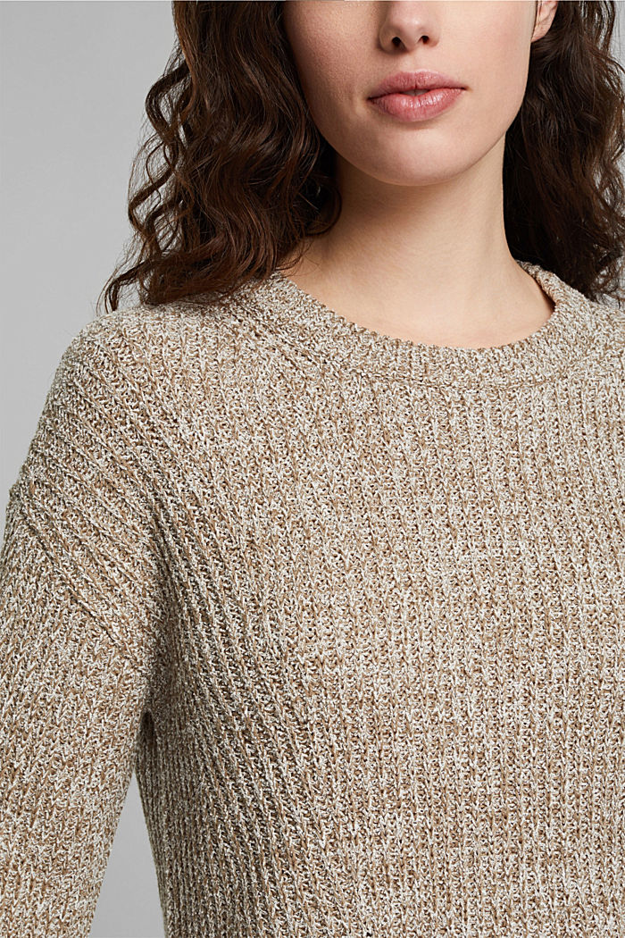 Ribbed jumper containing organic cotton, LIGHT KHAKI, detail image number 2