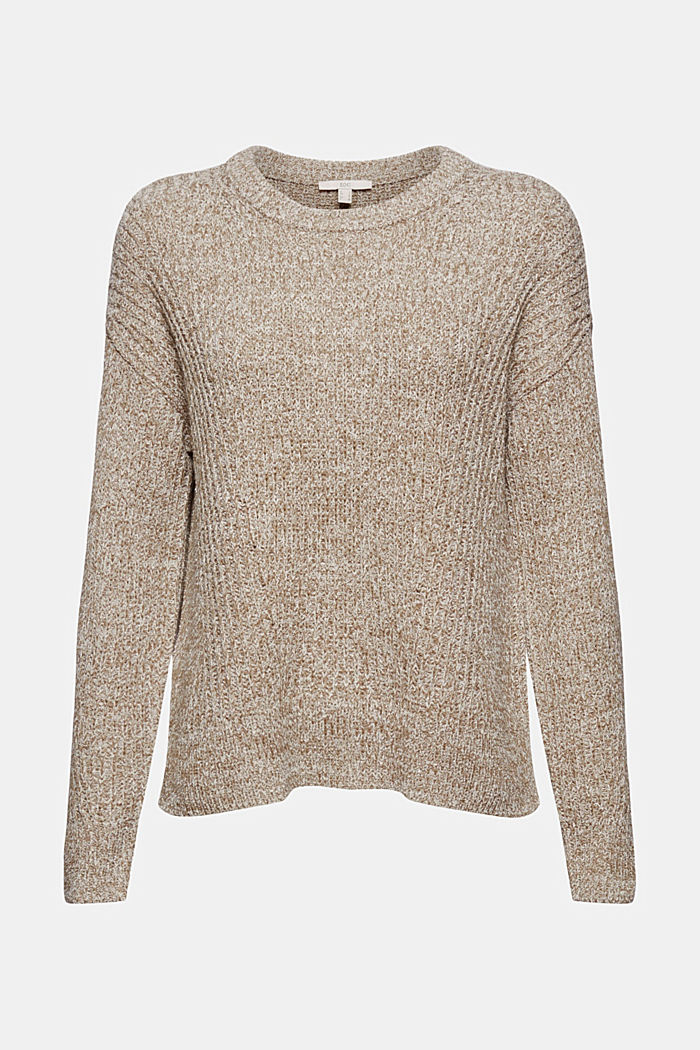 Ribbed jumper containing organic cotton, LIGHT KHAKI, detail image number 6