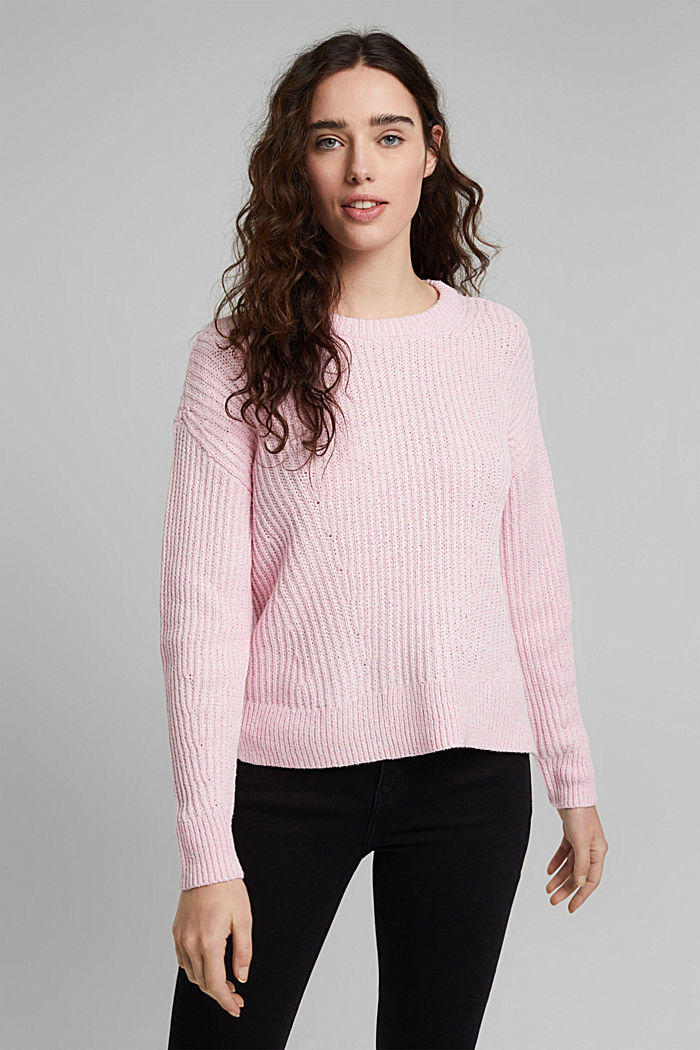 Ripp-Pulllover mit Organic Cotton, PINK, detail image number 0