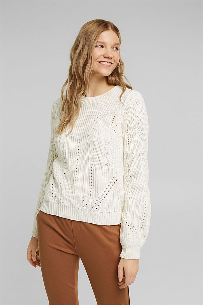 Cotton blend pointelle jumper, OFF WHITE, detail image number 0