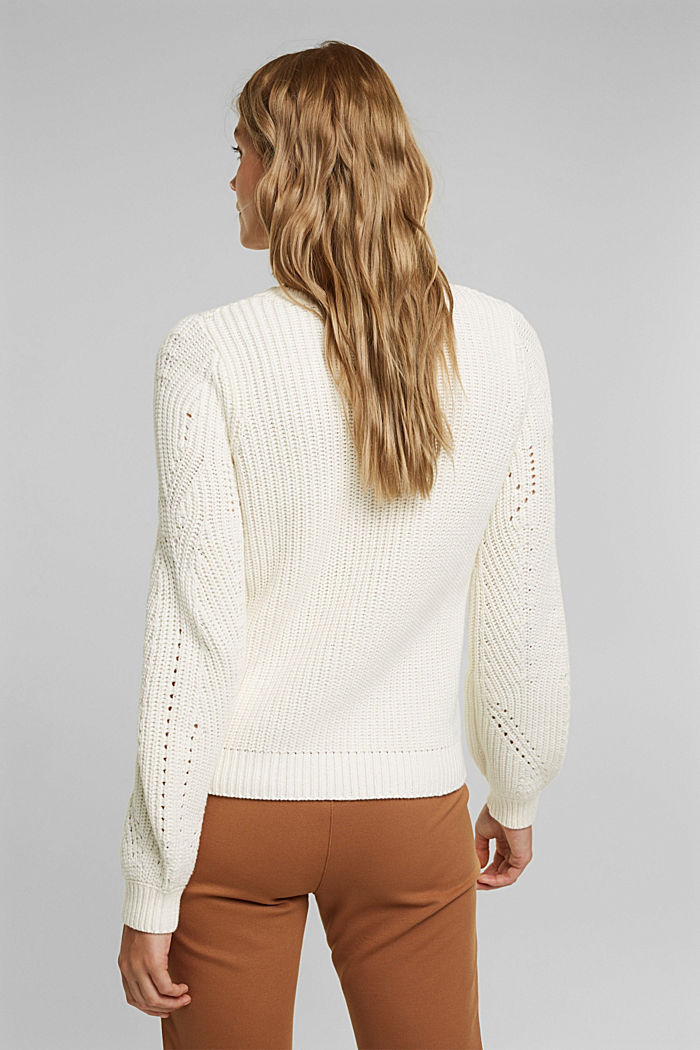Cotton blend pointelle jumper, OFF WHITE, detail image number 3
