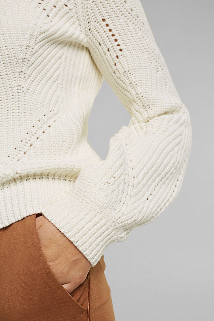 Cotton blend pointelle jumper, OFF WHITE, detail image number 5