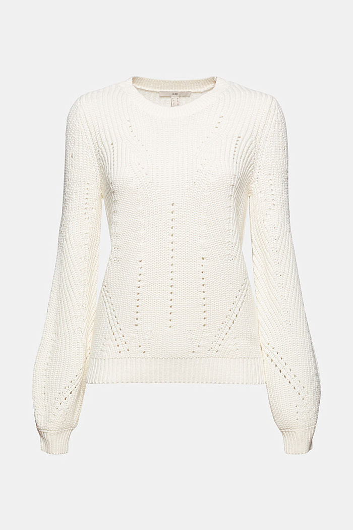 Cotton blend pointelle jumper, OFF WHITE, detail image number 6