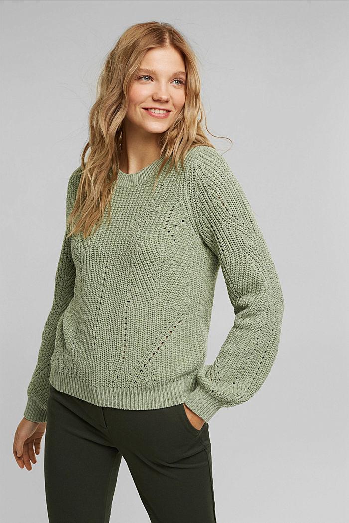 Opengewerkte trui met katoen, DUSTY GREEN, detail image number 0