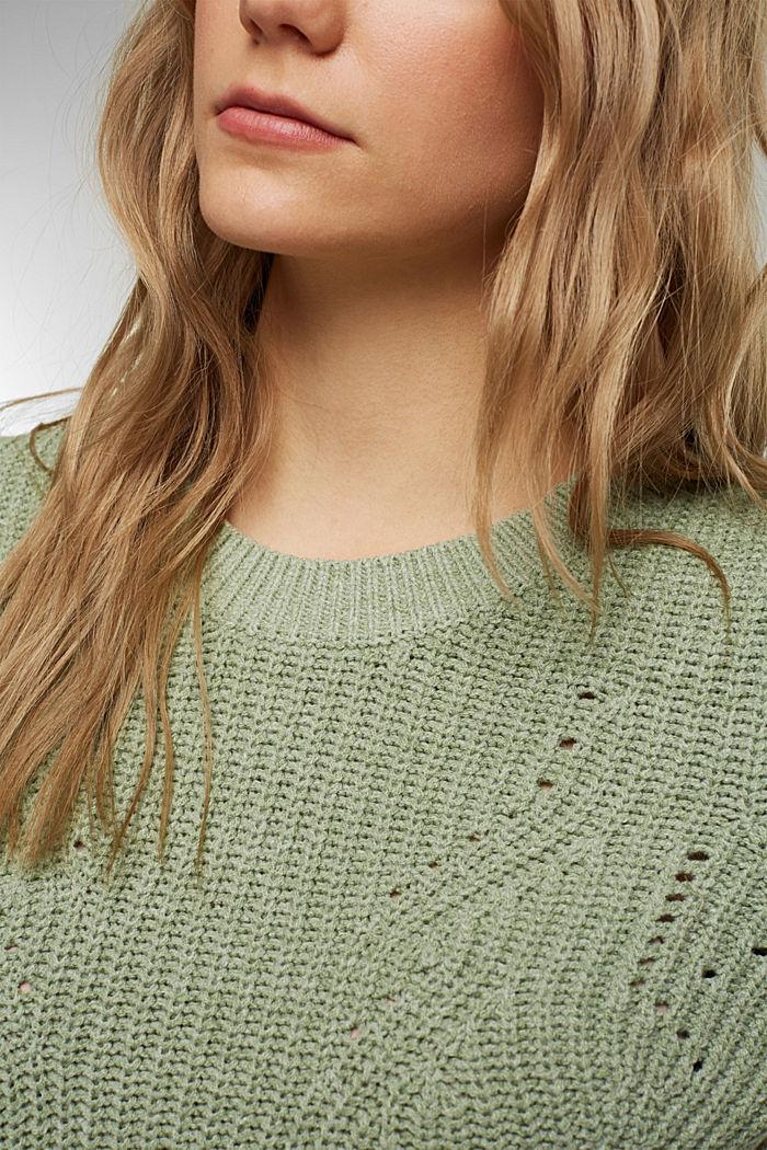 Opengewerkte trui met katoen, DUSTY GREEN, detail image number 2