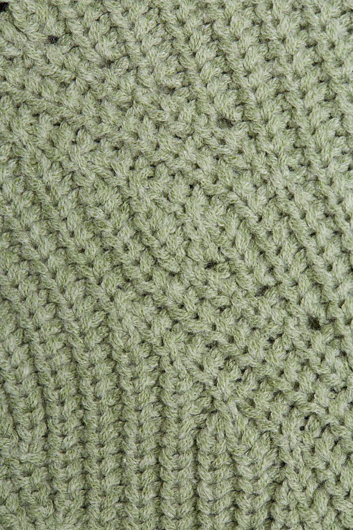 Opengewerkte trui met katoen, DUSTY GREEN, detail image number 4
