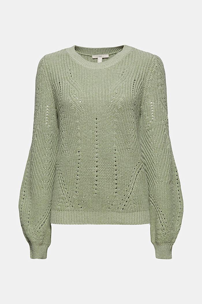 Opengewerkte trui met katoen, DUSTY GREEN, detail image number 5