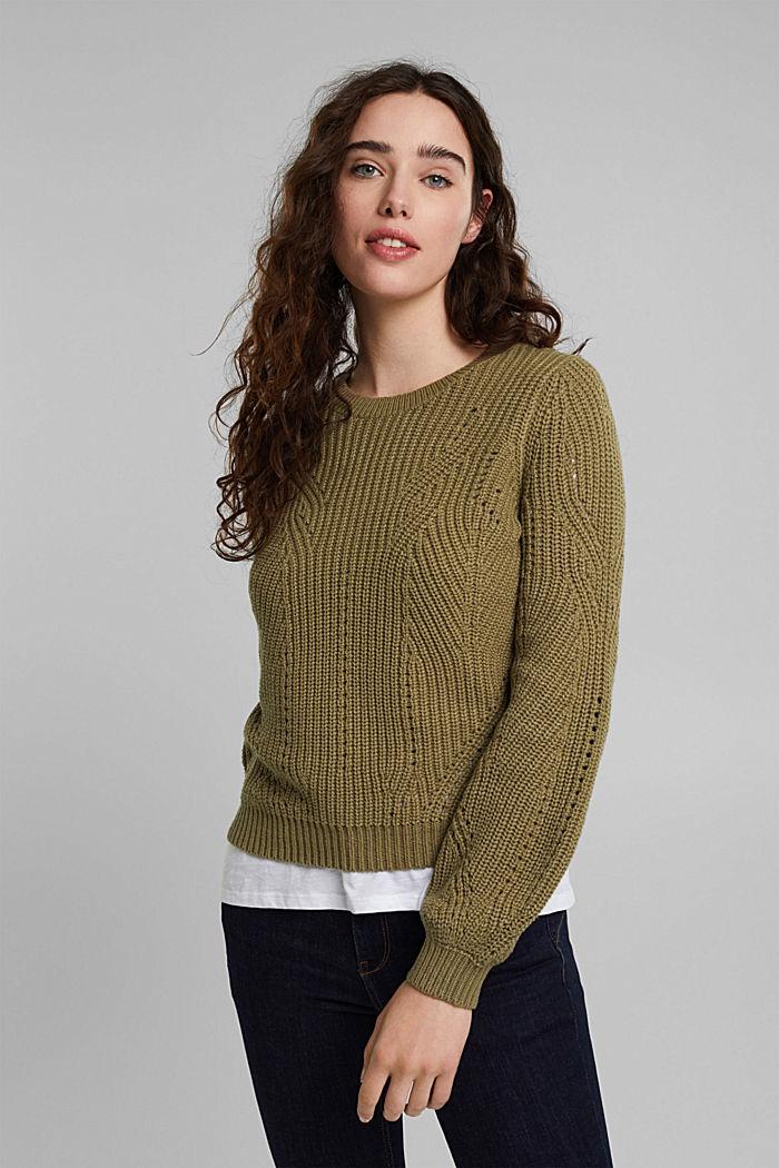 Cotton blend pointelle jumper, KHAKI GREEN, detail image number 0