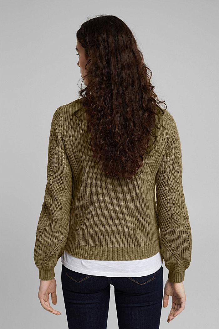 Cotton blend pointelle jumper, KHAKI GREEN, detail image number 3