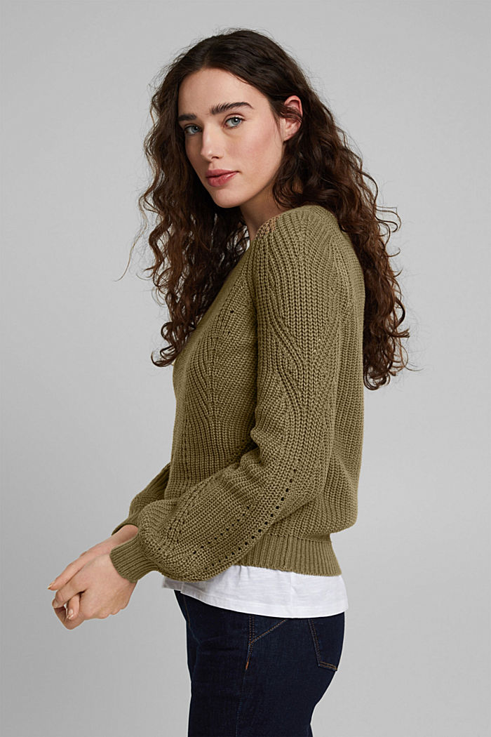 Pointelle-Pullover mit Baumwolle, KHAKI GREEN, detail image number 5