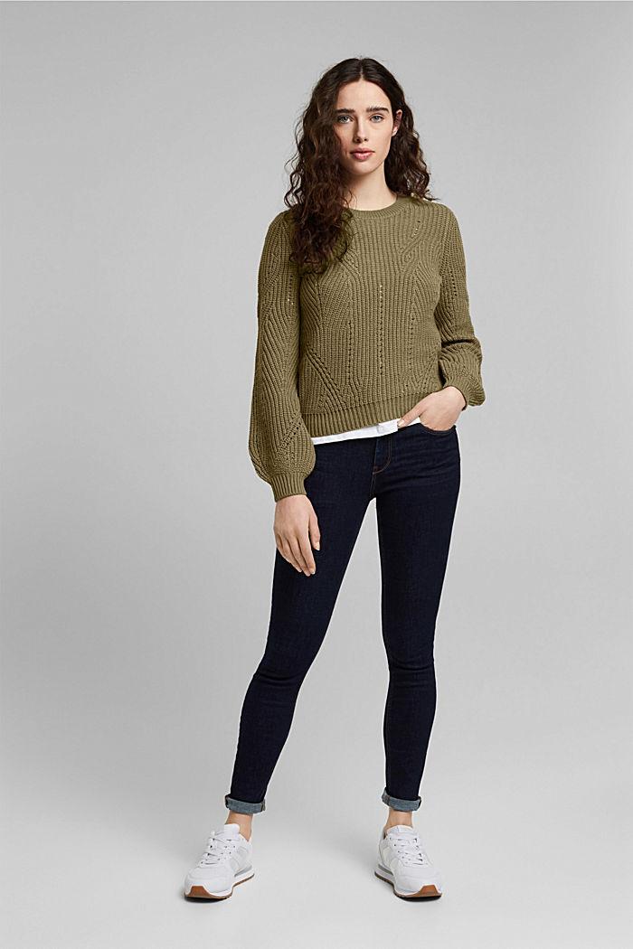 Pointelle-Pullover mit Baumwolle, KHAKI GREEN, detail image number 1