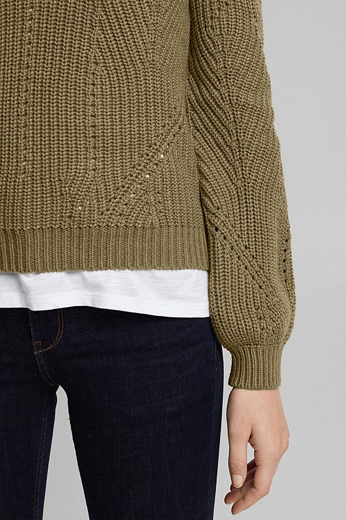Cotton blend pointelle jumper, KHAKI GREEN, detail image number 2