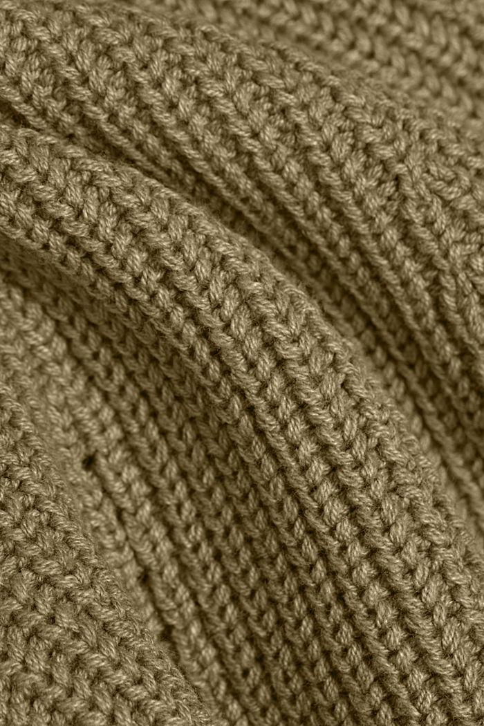 Cotton blend pointelle jumper, KHAKI GREEN, detail image number 4