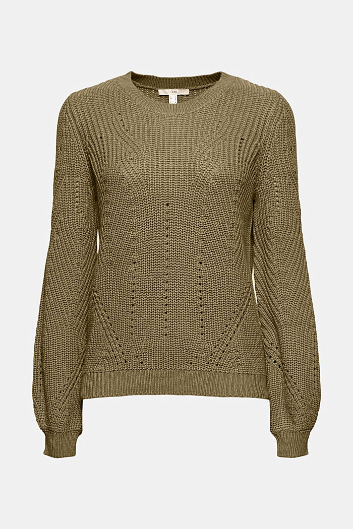 Cotton blend pointelle jumper, KHAKI GREEN, detail image number 6