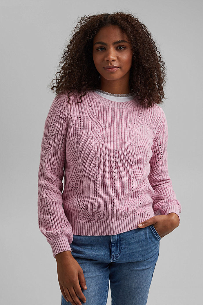 Cotton blend pointelle jumper, PINK, detail image number 0