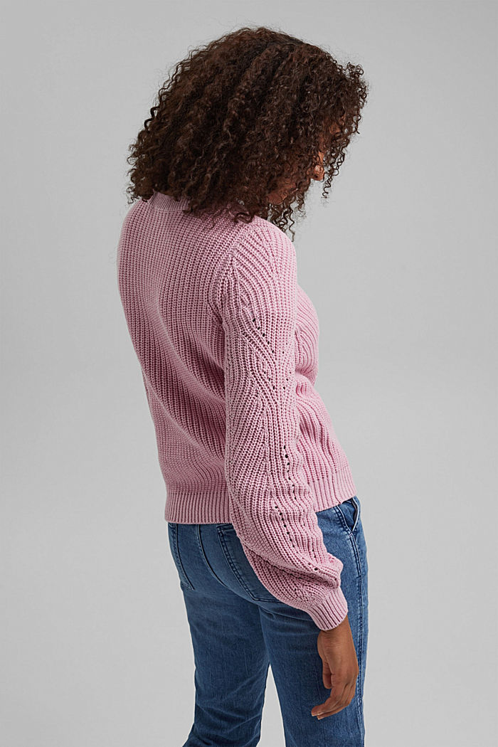 Cotton blend pointelle jumper, PINK, detail image number 3