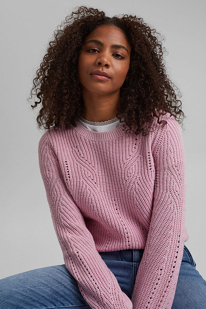 Cotton blend pointelle jumper, PINK, detail image number 5