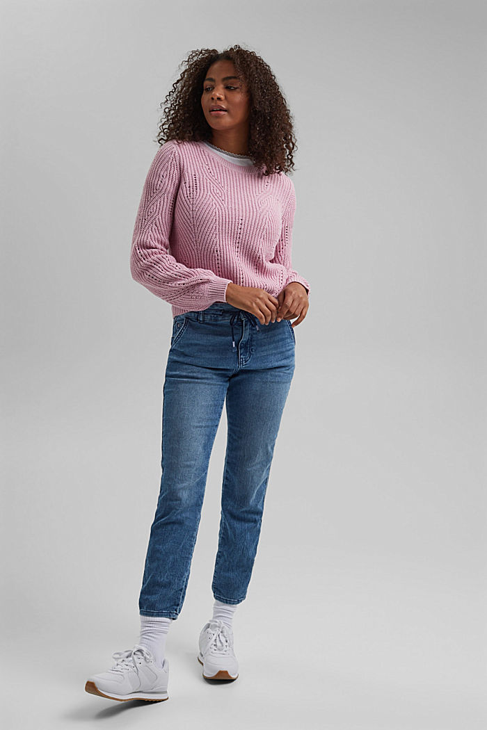 Cotton blend pointelle jumper, PINK, detail image number 6