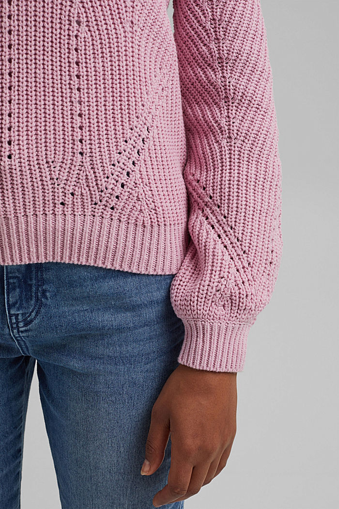 Cotton blend pointelle jumper, PINK, detail image number 2