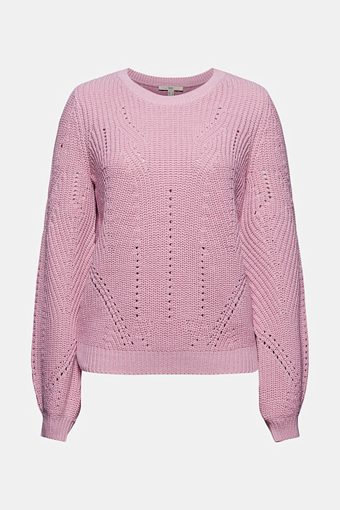 Cotton blend pointelle jumper, PINK, detail image number 7
