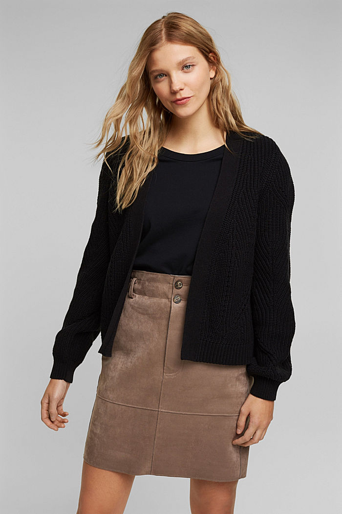 Cotton blend pointelle cardigan, BLACK, detail image number 0