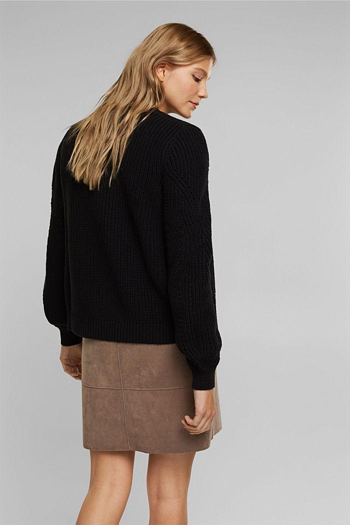 Cotton blend pointelle cardigan, BLACK, detail image number 2