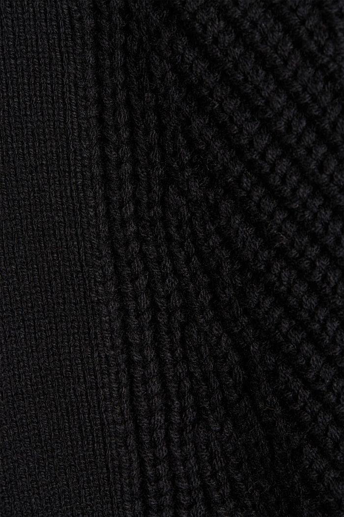 Cotton blend pointelle cardigan, BLACK, detail image number 3