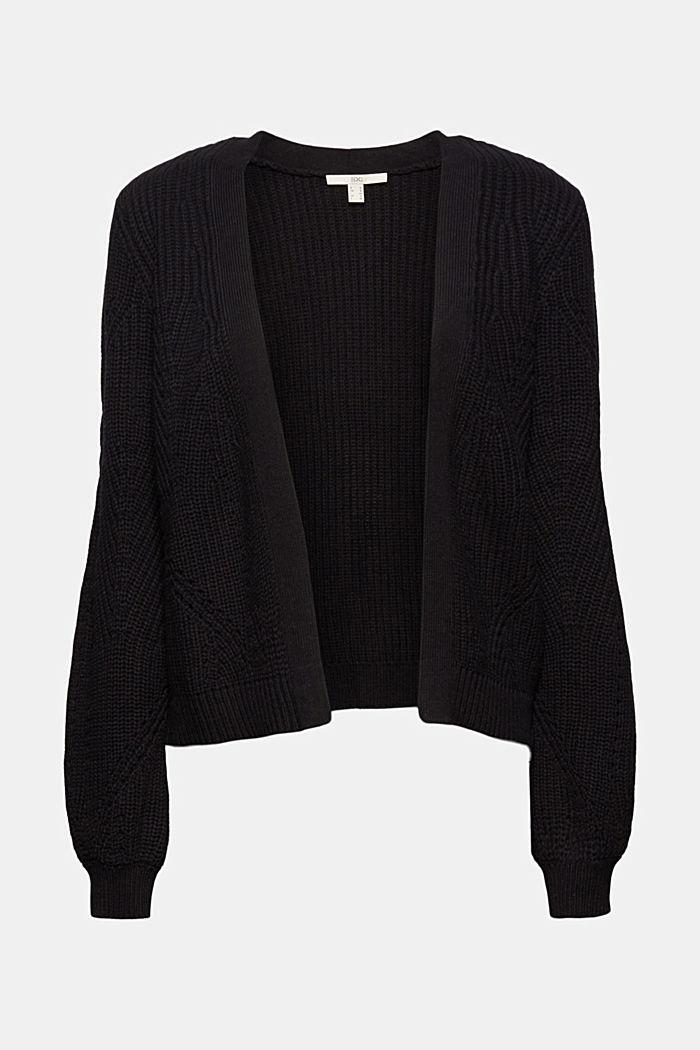 Cotton blend pointelle cardigan, BLACK, detail image number 5