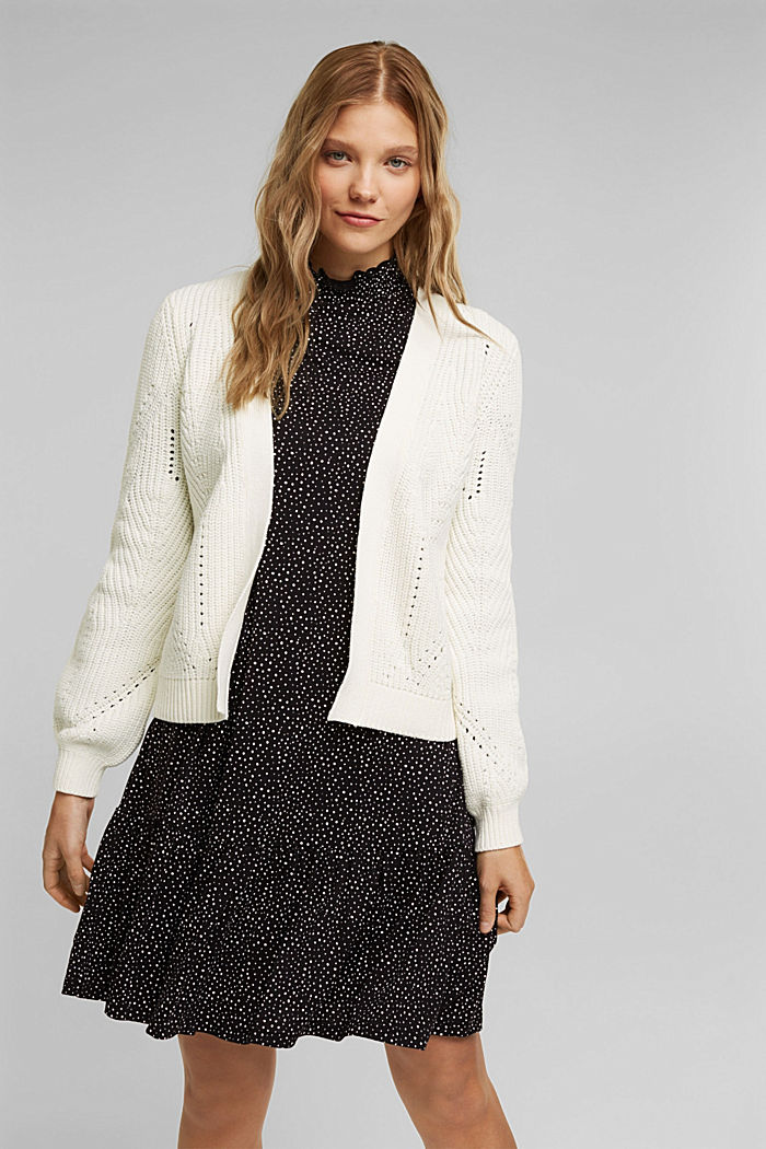 Cotton blend pointelle cardigan, OFF WHITE, detail image number 0