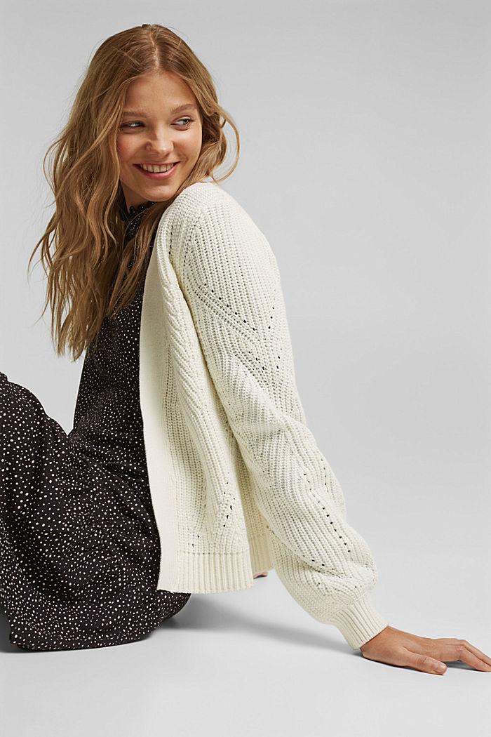 Cotton blend pointelle cardigan