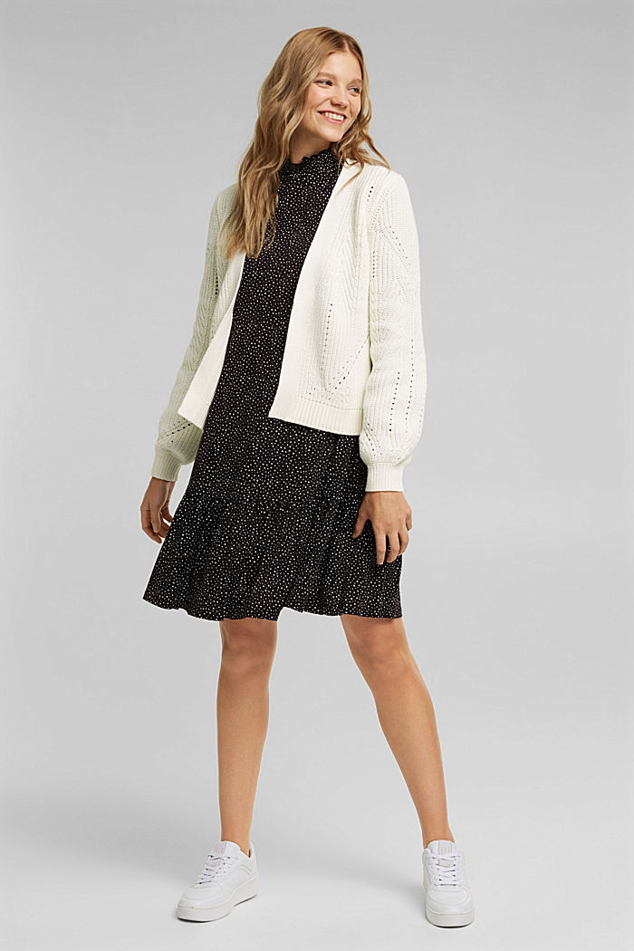 Cotton blend pointelle cardigan, OFF WHITE, detail image number 1