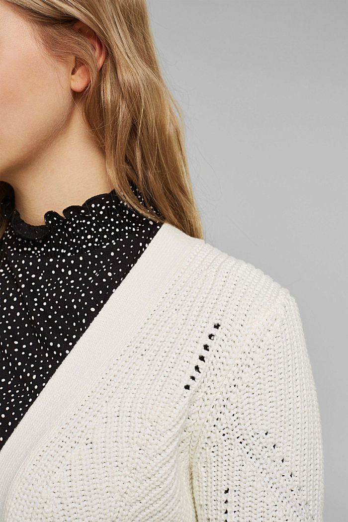 Cotton blend pointelle cardigan, OFF WHITE, detail image number 2