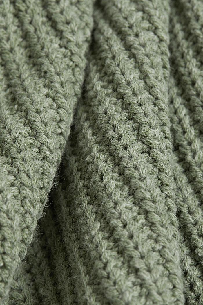 Puuvillaa sisältävä pointelle-neuletakki, DUSTY GREEN, detail image number 4