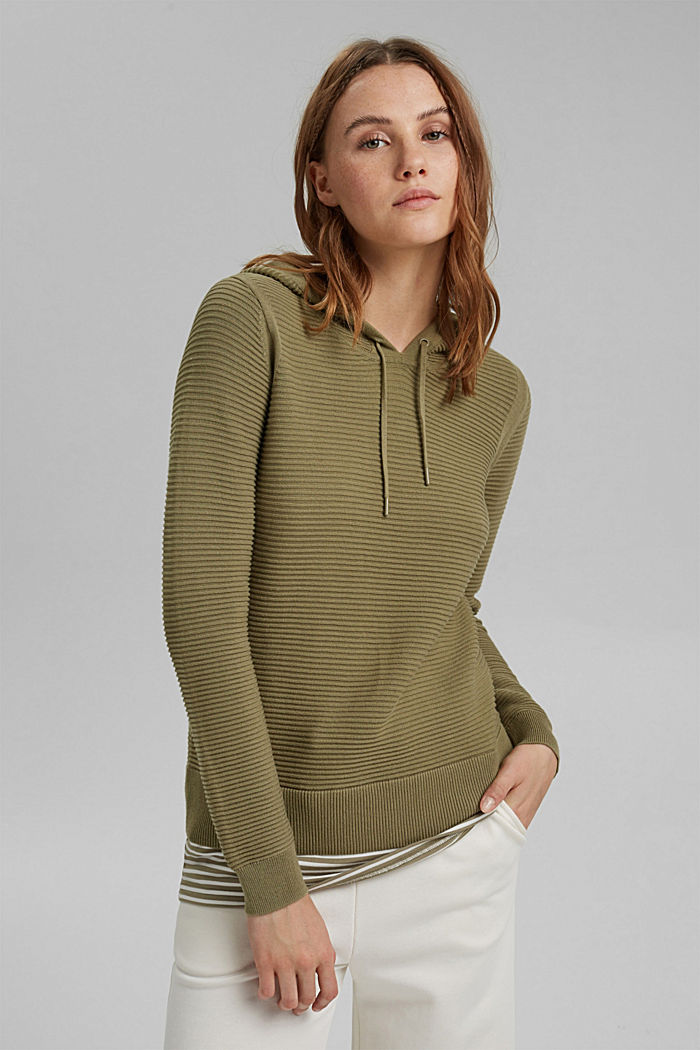 Ribbed hooded jumper with a layered-effect hem border, LIGHT KHAKI, detail image number 0