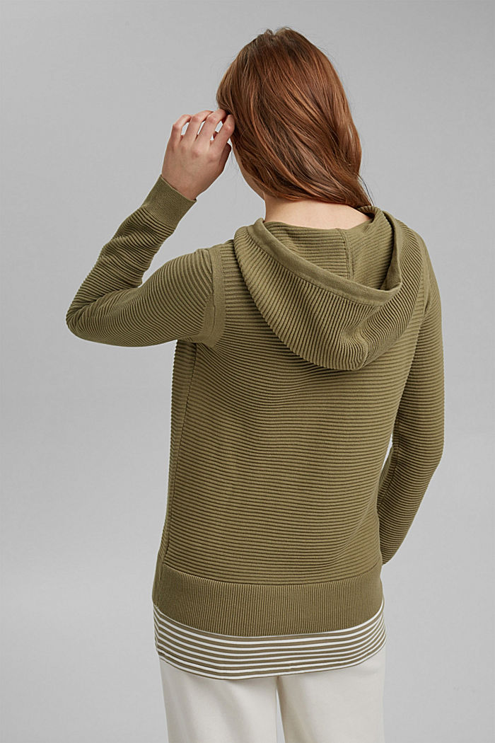 Ribbed hooded jumper with a layered-effect hem border, LIGHT KHAKI, detail image number 3