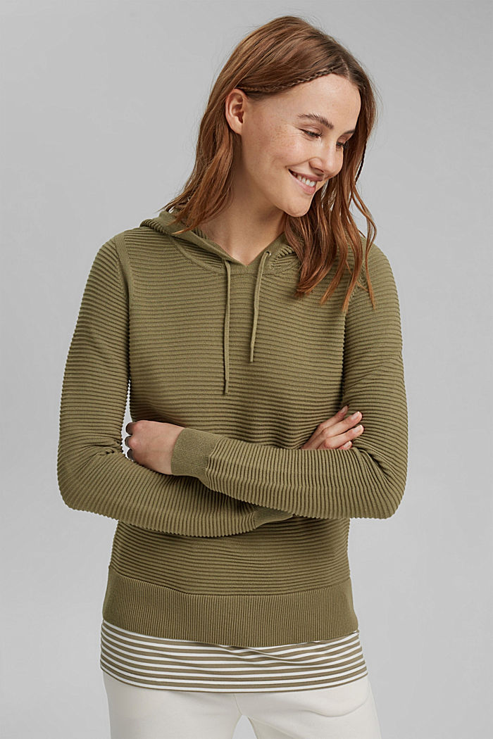 Ribbed hooded jumper with a layered-effect hem border, LIGHT KHAKI, detail image number 5