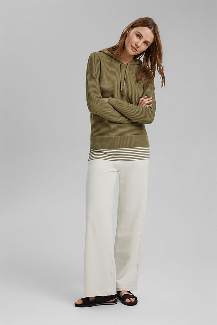 Ribbed hooded jumper with a layered-effect hem border, LIGHT KHAKI, detail image number 1