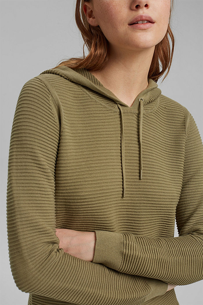 Ribbed hooded jumper with a layered-effect hem border, LIGHT KHAKI, detail image number 2