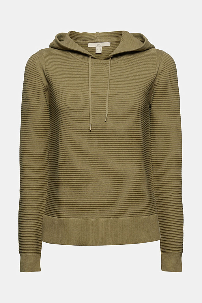 Ribbed hooded jumper with a layered-effect hem border, LIGHT KHAKI, detail image number 6