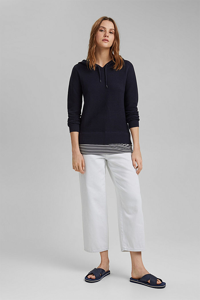 Ribbed hooded jumper with a layered-effect hem border