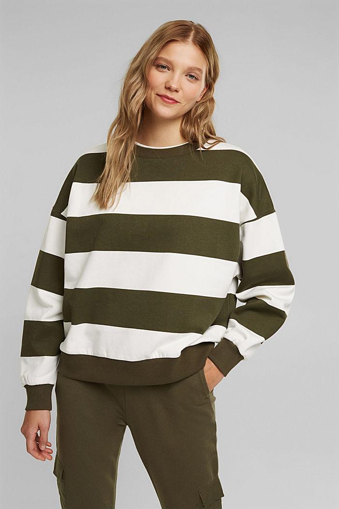 Sweatshirt mit Blockstreifen, KHAKI GREEN, detail image number 0