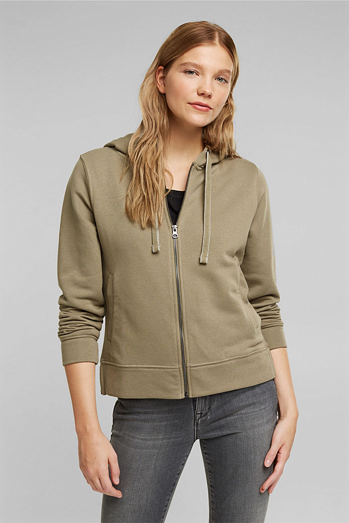 Recycled: zip-up hoodie containing organic cotton, LIGHT KHAKI, detail image number 0
