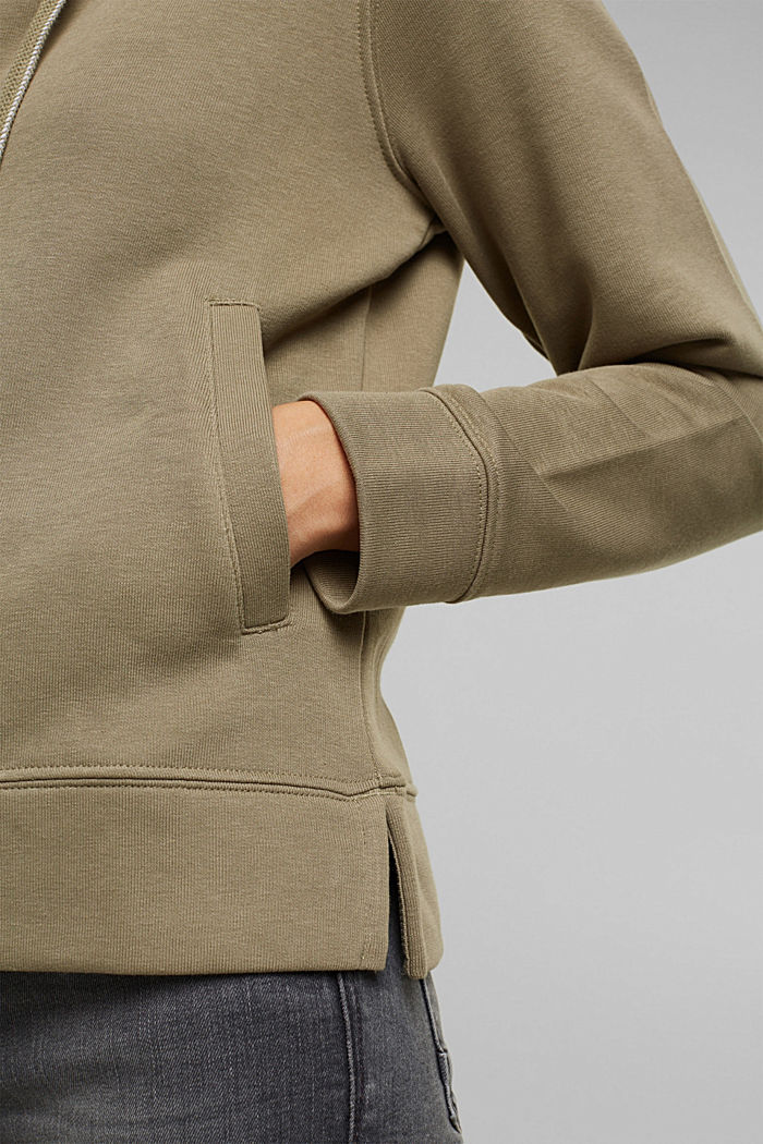 Recycled: zip-up hoodie containing organic cotton, LIGHT KHAKI, detail image number 5